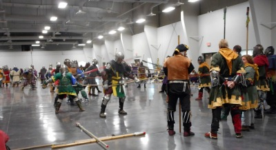 Many medieval style current fighters practicing skills.