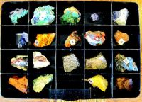 20 raw rock samples in their display case