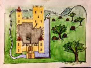 Poor perspective painting of a castle, moat, and trees.